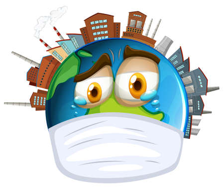 greenhouse effect: Environmental theme with world and pollution illustration