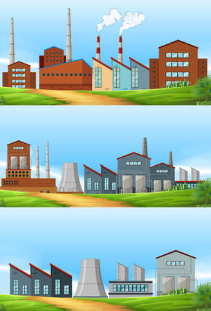 industrail: Three scenes with factories in the field illustration