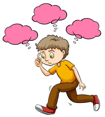 Speech bubbles template and man thinking illustration