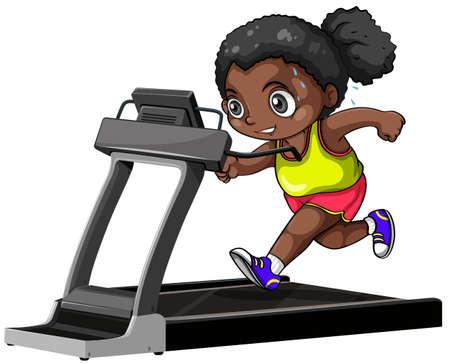 healthy kid: African american girl running on treadmill illustration