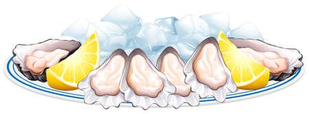 Fresh oyster and lemon on the plate illustration Illustration