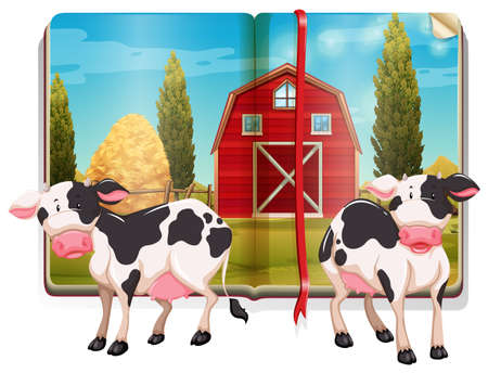 storybook: Book with cows in the farm illustration Illustration