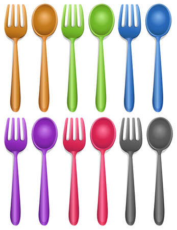 pairs: Six pairs of fork and spoon illustration