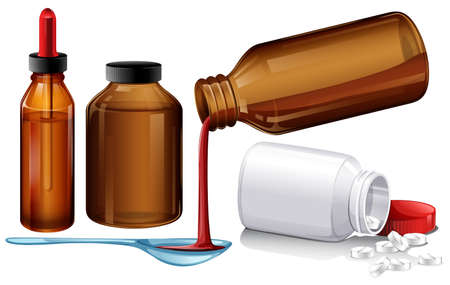 prescription bottles: Liquid medicine and tablets illustration