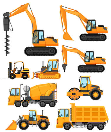 compress: Different types of construction vehicles illustration Illustration