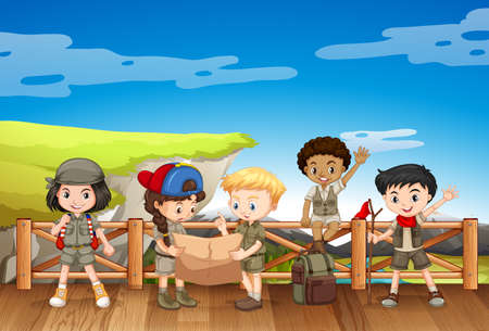 girl in nature: Five children in safari outfit standing on the bridge illustration