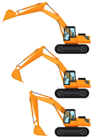 Bulldozers in three positions illustration