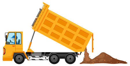 loaded: Man driving truck loaded with soil illustration Illustration