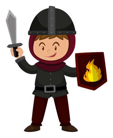 Boy in knight outfit holding sword illustration Illustration
