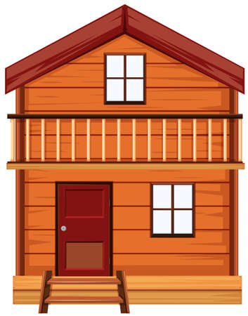 windows home: House made of woods illustration