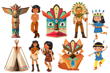 indios americanos: Native american indians and traditional items illustration Vectores