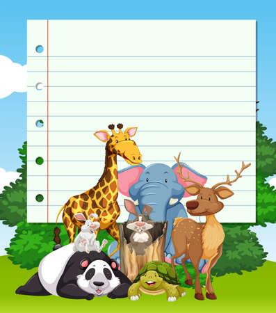 safari animal: Border design with many wild animals illustration
