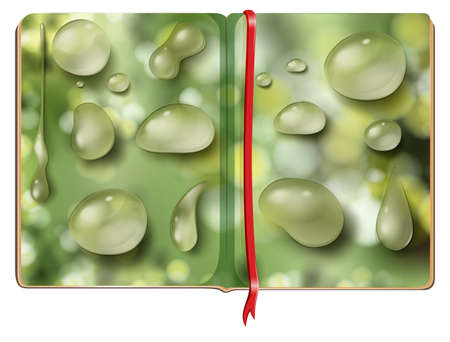 waterdrops: Book with different shapes of waterdrops illustration