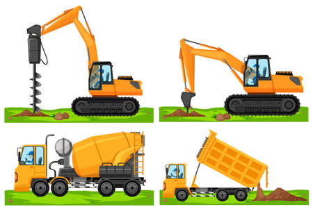 Four different types of construction vehicles illustration Illustration