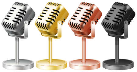 Microphone in four colors illustration Illustration