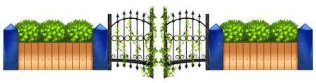 metal doors: Metal fence and green bush illustration Illustration