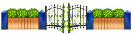Metal fence and green bush illustration Illustration