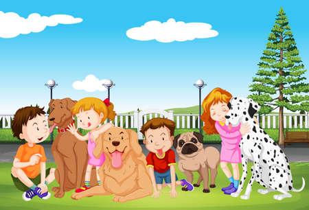 infancia: Los niños y sus perros en el parque de la ilustración Vectores