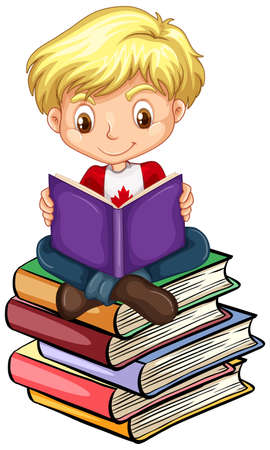 Canadian boy reading books illustration Illustration