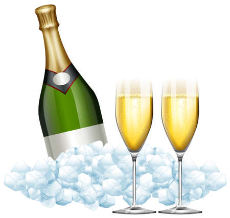 Two glasses of champagne and bottle in ice illustration Illustration
