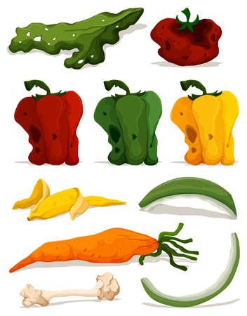 Verschillende soorten van rotte groenten illustratie