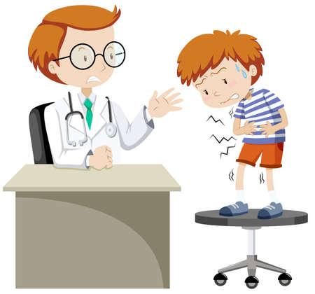 sick boy: Sick boy visiting doctor illustration