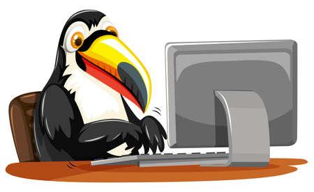 Toucan typing on keyboard illustration Illustration