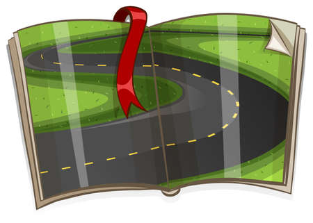 storybook: Book with road in the country scene illustration