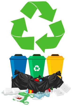 basurero: Trashcans y pila de la basura ilustración