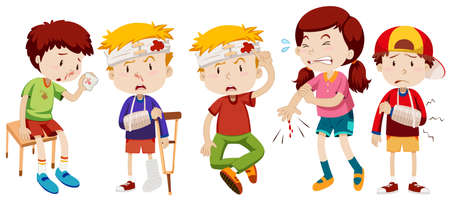 nose cartoon: Children with wounds from accident illustration