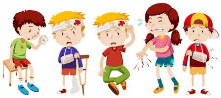 hemorragias: Los niños con heridas de ilustración accidente Vectores