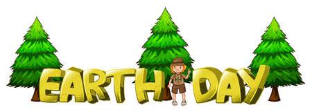 ranger: Font design for word earth day  illustration