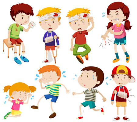 cartoon kid: Different kids being sick and getting hurt illustration Illustration
