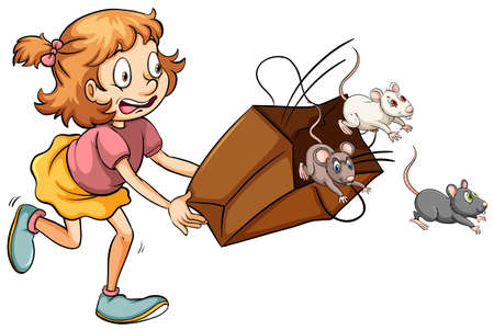 Little girl scared of rats in the bag illustration