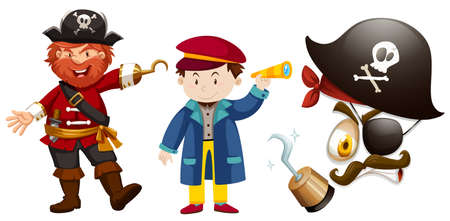 Pirate characters on white background illustration