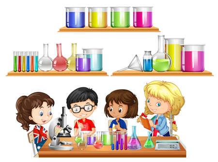 experimento: Niños haciendo experimento científico y un conjunto de vasos de precipitados ilustración Vectores