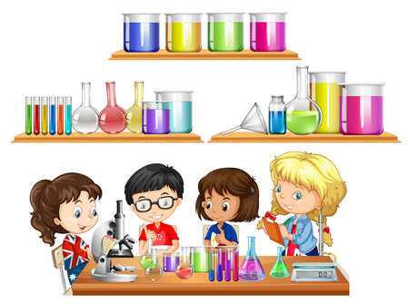Kids doing science experiment and set of beakers illustration Illustration
