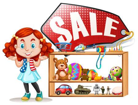 Girl saling old toys illustration Illustration
