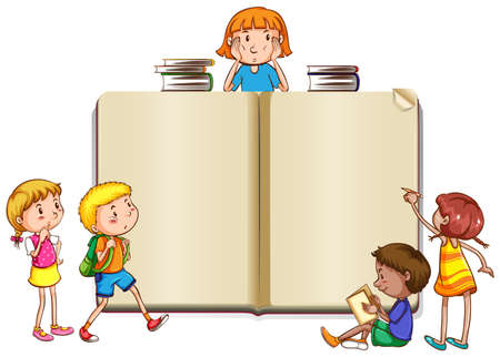 Border template with kids reading books illustration