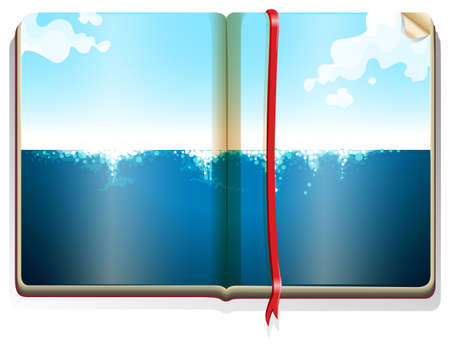 blue book: Blue ocean on the book illustration