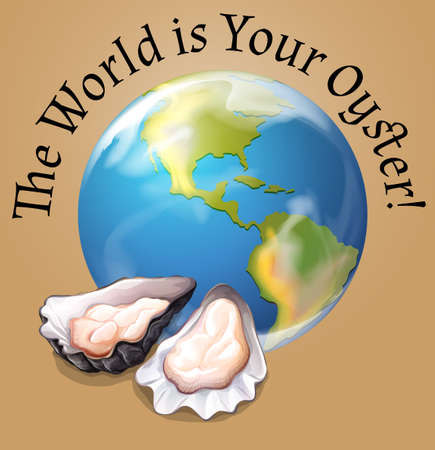 Poster of the world with oysters illustration