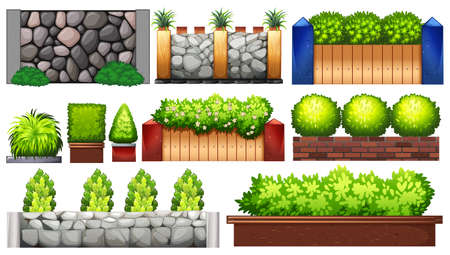 multiple: Different design of wall and fence illustration Illustration