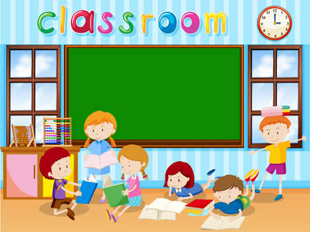 school kids: Many students reading book in the classroom illustration Illustration