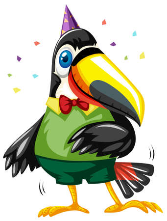 toucan: Toucan bird wearing party hat illustration