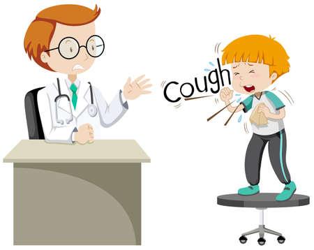 sick boy: Doctor giving treatment to sick boy illustration