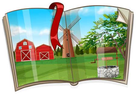 children's story: Farm scene on the book illustration Illustration