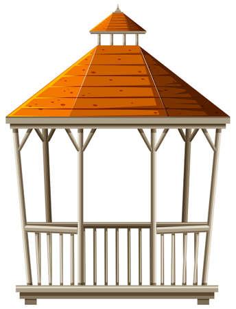 Wooden pavilion with orange roof illustration Illustration