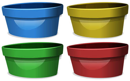 multiple: Bowls in four different colors illustration