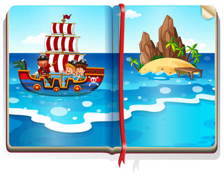 storybook: Book with kids sailing in the ocean illustration Illustration