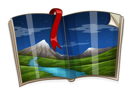 Book with mountain scene illustration